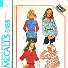 McCalls Sewing Pattern 5188 Girls Size 8 Easy Pullover Yoked Tops Sleeve  Neckline Options