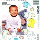 McCalls Sewing Pattern 5194 Baby Size NB-L Knit Layette Bunting Gown T-Shirts Diaper Cover