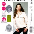McCalls Sewing Pattern 6436 Womans Plus Size 18W-24W Easy Button Front Shirt Blouse Top