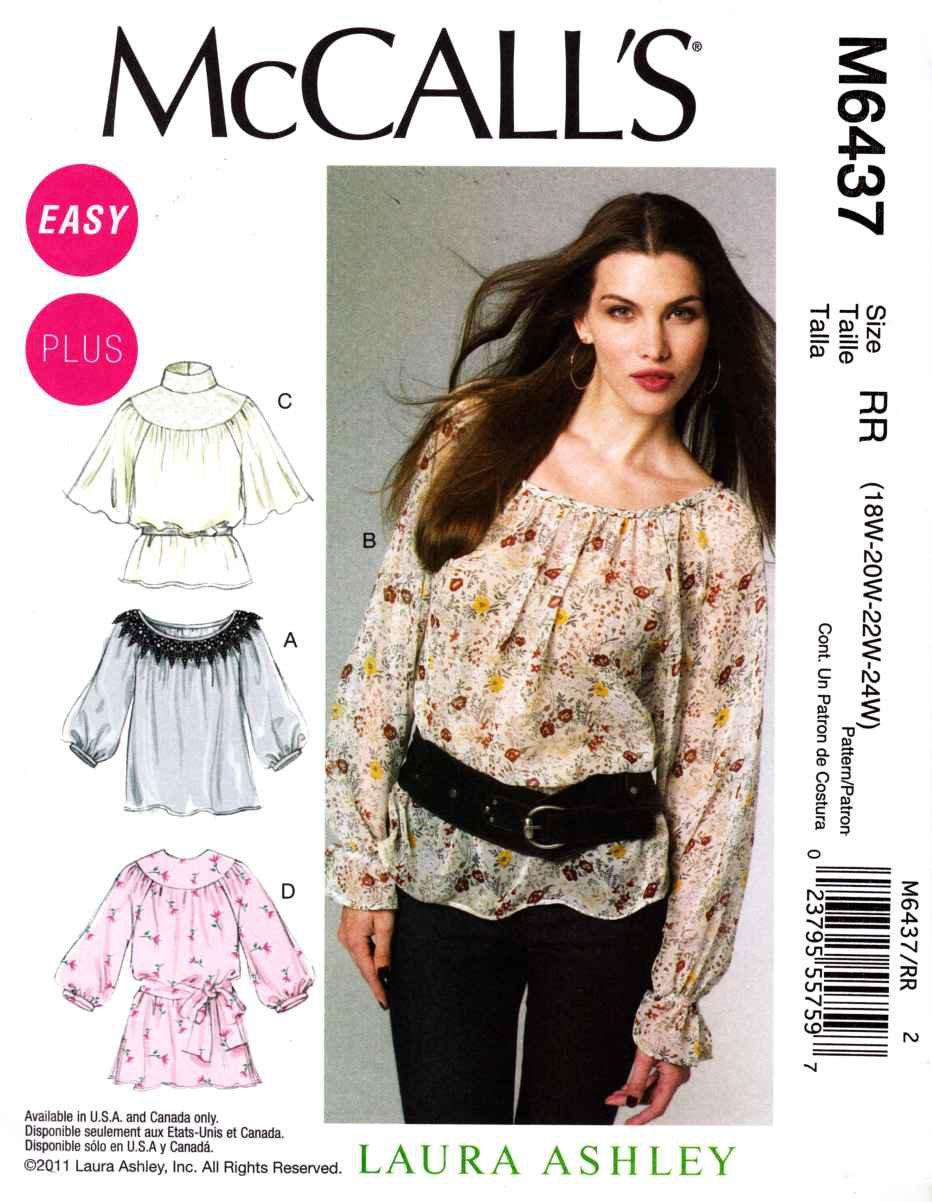 McCalls Sewing Pattern 6437 Womans Plus Size 18W-24W Easy Pullover Peasant Style Top