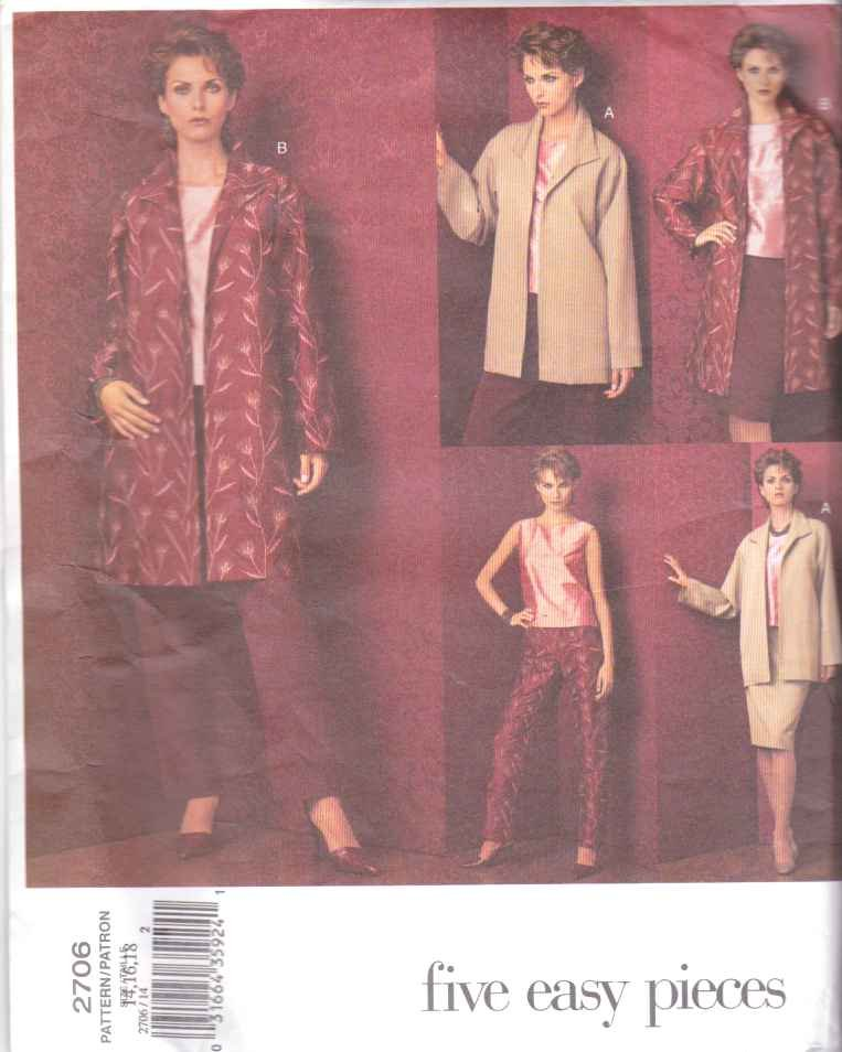 Vogue Sewing Pattern 2706 Misses size 8-10-12 Easy Wardrobe Top Pants Skirt Jacket
