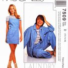 McCalls Sewing Pattern 7509 M7509 Misses Size 12-16 Unlined Barn Jacket Slip Dress T-shirt Pants