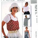 McCalls Sewing Pattern 7574 Misses Size 12-16 Woman's Day Pullover Slip Top T-shirt
