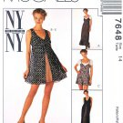 McCalls Sewing Pattern 7648 Misses Size 14 NYNY Slip Dress Romper Overdress Mini-dress