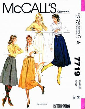 McCalls Sewing Pattern 7719 Misses Size 14 Flared Gathered Skirts Two Lengths