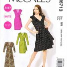 McCalls Sewing Pattern 6713 Misses Size 8-16 Easy Pullover Knit Mock Wrap Dress