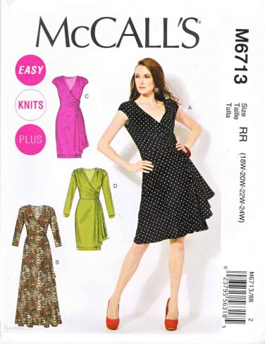 McCalls Sewing Pattern 6713 M6713 Misses Size 8-16 Easy Pullover Knit Mock Wr...