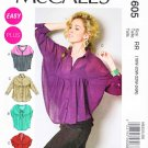 McCalls Sewing Pattern 6605 Misses Size 8-16 Easy Button Front Sleeve Collar Options Blouse Top