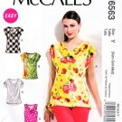 McCalls Sewing Pattern 6563 M6563 Misses Size 4-14 Easy Pullover Cowl Neck Cap Sleeve Top