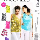 McCalls Sewing Pattern 6562 Misses Size 4-14 Easy Lined Pullover One Shoulder Top