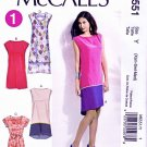 McCalls Sewing Pattern 6551 Misses Size 16-26 Pullover Straight Dress Hem Options