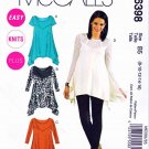 McCalls Sewing Pattern 6398 Womans Plus Size 18W-24W Easy Knit tunics Tops Sleeve Options