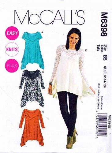 1ea38b66b8d5f3 McCalls Sewing Pattern M6398 6398 Womans Plus Size 18W-24W Easy Knit tunics  Tops Sleeve Options