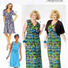 Butterick Sewing Pattern 5764 Women's Plus Size 26W-32W Mock Wrap Dress Knit Shrug