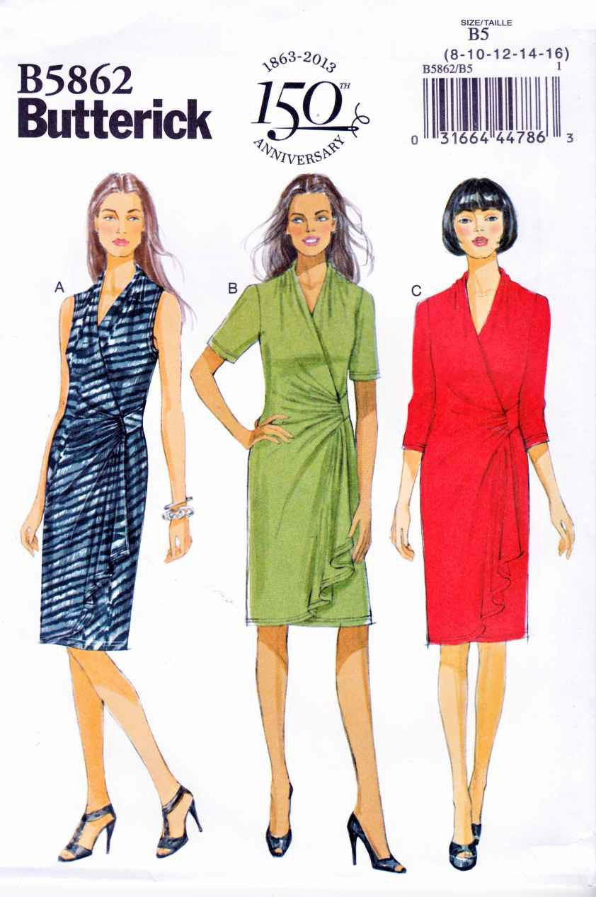Butterick Sewing Pattern 5862 Womens Plus Size 18W-24W Pullover Knit Mock Front Wrap Dress
