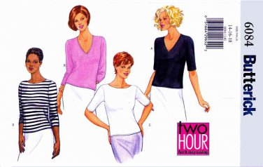 Butterick Sewing Pattern 6084 Misses Size 8-10-12 Easy Knit Pullover Tops Neck Sleeve Variations