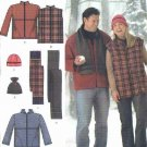 """Simplicity Sewing Pattern 4803 Womens Mens Chest Size 52-62"""" Easy Hooded Jacket Vest Hat Scarf"""