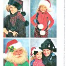 Simplicity Sewing Pattern 8768 Adult Child's Size Small - Large Santa Hat Scarf Decorated Box.