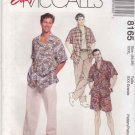 McCalls Sewing Pattern 8165 Men's Size XXXLarge Easy Button Front Shirt Shorts Pants Tank Top