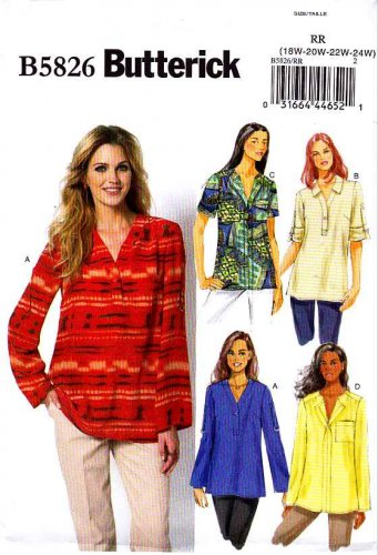 Butterick Sewing Pattern 5826 Womens Plus Size 18W-24W Easy Pullover Top Tunic