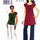 Vogue Sewing Pattern 8565 Misses Sizes 8-14 Easy Tucked Knit Top Tunic Long Cropped Pants