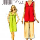 Vogue Sewing Pattern 8655 Misses Sizes 8-14 Easy Pullover Tunic Dress Cropped Pants