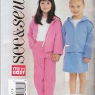 Butterick Sewing Pattern 3947 Girls Sizes 6-8 Easy Knit  Hooded Jacket Skirt Pants Hoodie