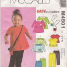 McCall's Sewing Pattern 4501 Toddler Girls Sizes 1-4 Easy Dress Top Pants Capris Purse