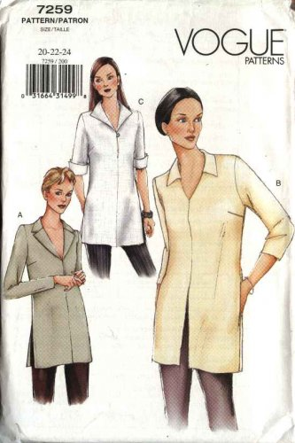 Vogue Sewing Pattern 7259 Misses Size 20-22-24 Misses� Easy Pullover Tops Sleeve Options