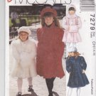 McCall's Sewing Pattern 7279 Girls Sizes 7-10 Easy Lined Coat Hooded Scarf Muff