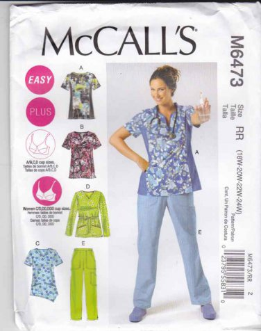 McCalls Sewing Pattern 6473 Easy Women's Plus Size 18W-24W Scrub Uniform Tops Pants