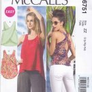 McCalls Sewing Pattern 6751 Misses Sizes 16-26 Easy Pullover Sleeveless Summer Tops