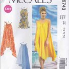 McCalls Sewing Pattern 6743 Misses Sizes 16-26 Easy Pullover Sleeveless Summer Dresses