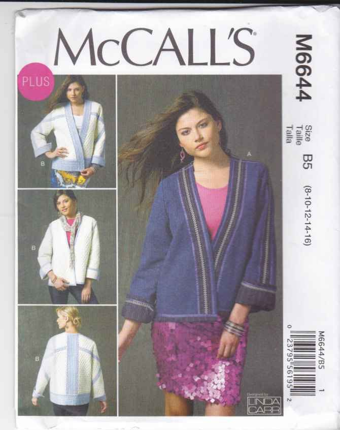 McCalls Sewing Pattern 6644 Womens Plus Sizes 18W-24W Reversible Quilted Long Sleeve Jacket