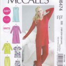 McCalls Sewing Pattern 6474 Womens Plus Sizes 18W-24W Easy Knit Pajamas Nightgown