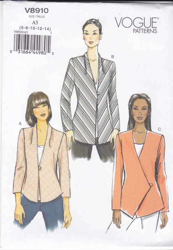 Vogue Sewing Pattern 8910 Misses Sizes 14-22 Easy Lined Bias Button Front Jacket
