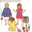 Butterick Sewing Pattern 4502 Boys Girls Size 2-5 Pullover Button Front Hooded Bath Swim Cover-up