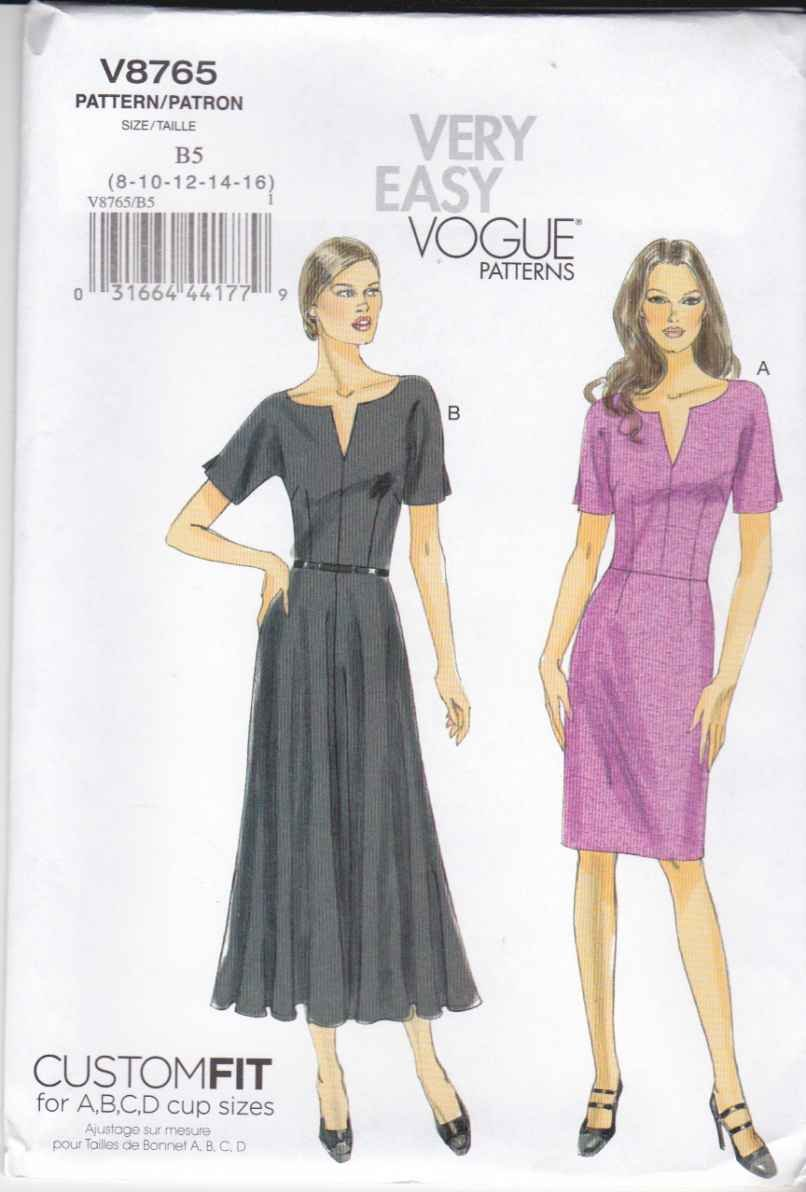 Vogue Sewing Pattern 8765 Misses Size 16-24 Easy Short Sleeve Dress Straight Flared Skirt