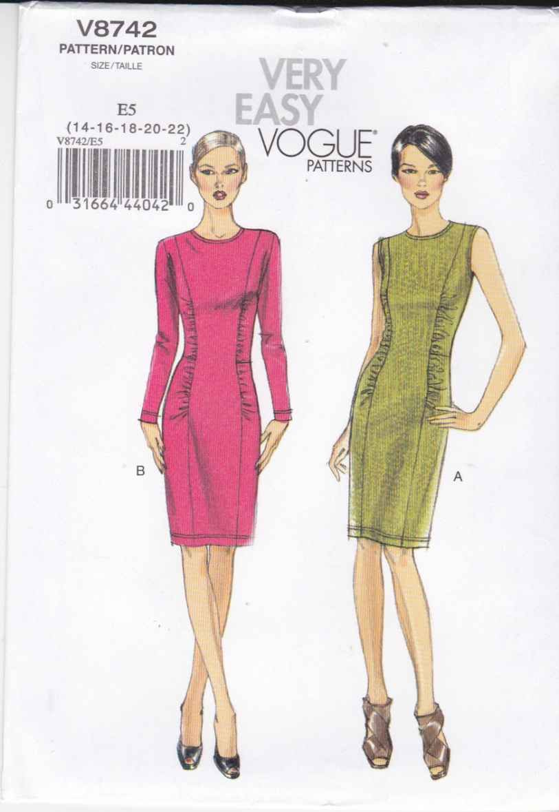 Vogue Sewing Pattern 8742 Misses Size 8-14 Easy Knit Sleeveless Long Sleeve Straight Dress