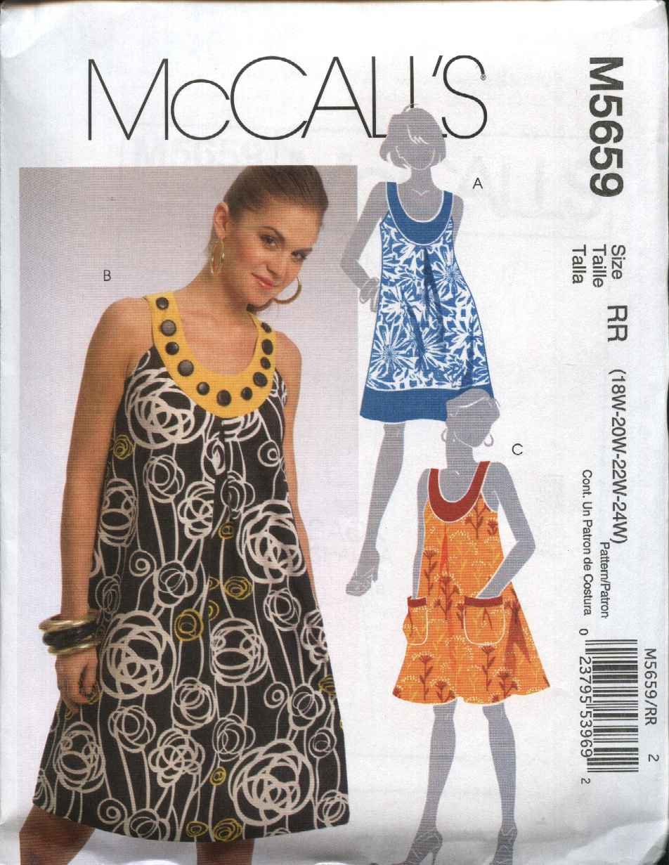 McCall's Sewing Pattern 5659 Misses Size 8-16 Loose Fitting Sleeveless Summer Dress