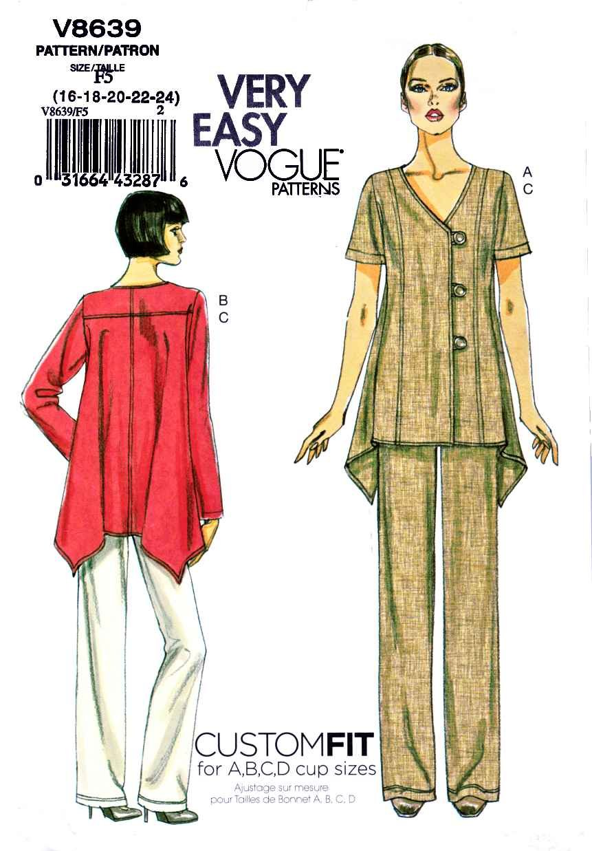 Vogue Sewing Pattern 8639 Misses Size 8-14 Easy Assymetrical Button Front Top Pants