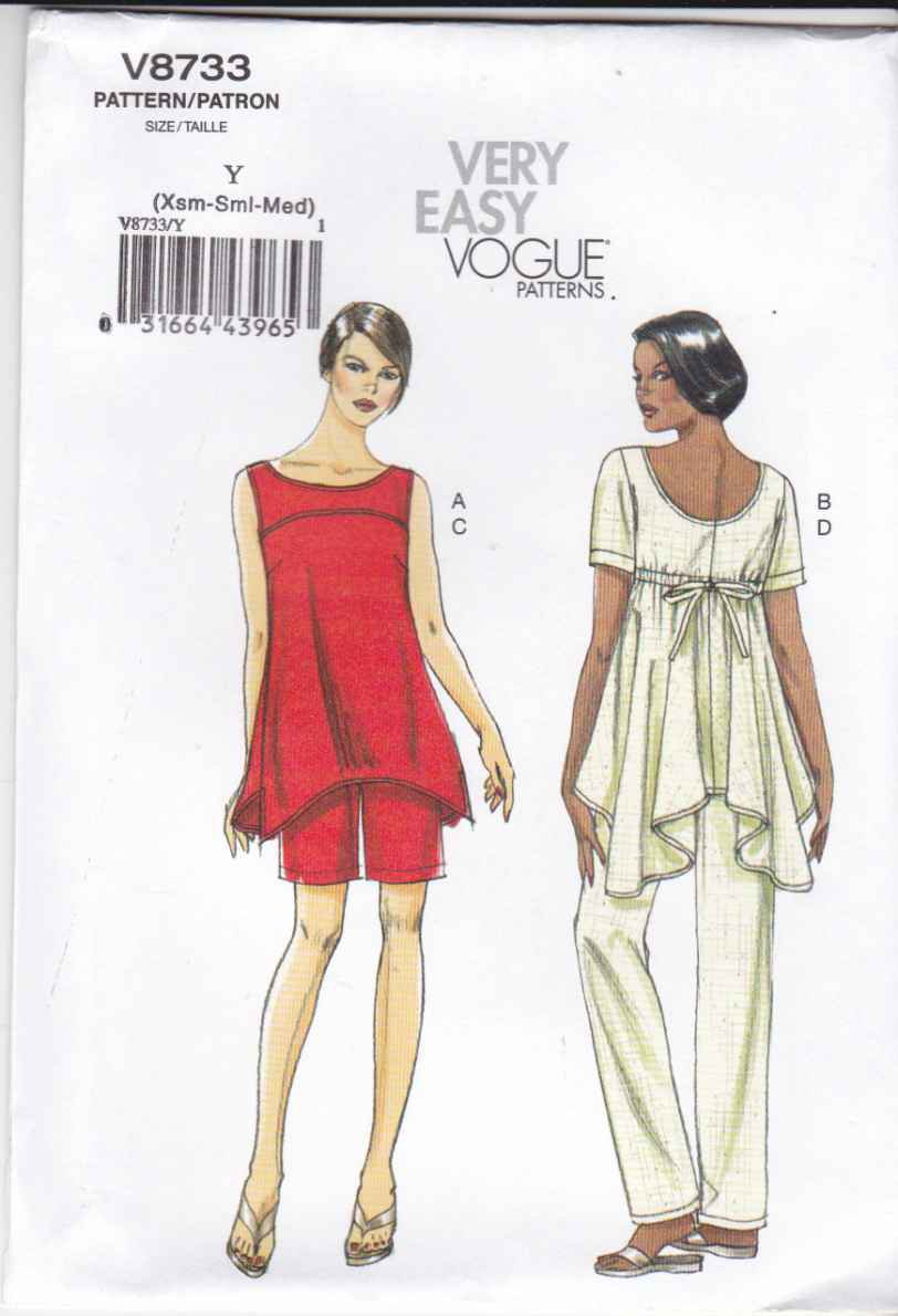 Vogue Sewing Pattern 8733 Misses Size 4-14 Easy Tunic Top Shorts Pants