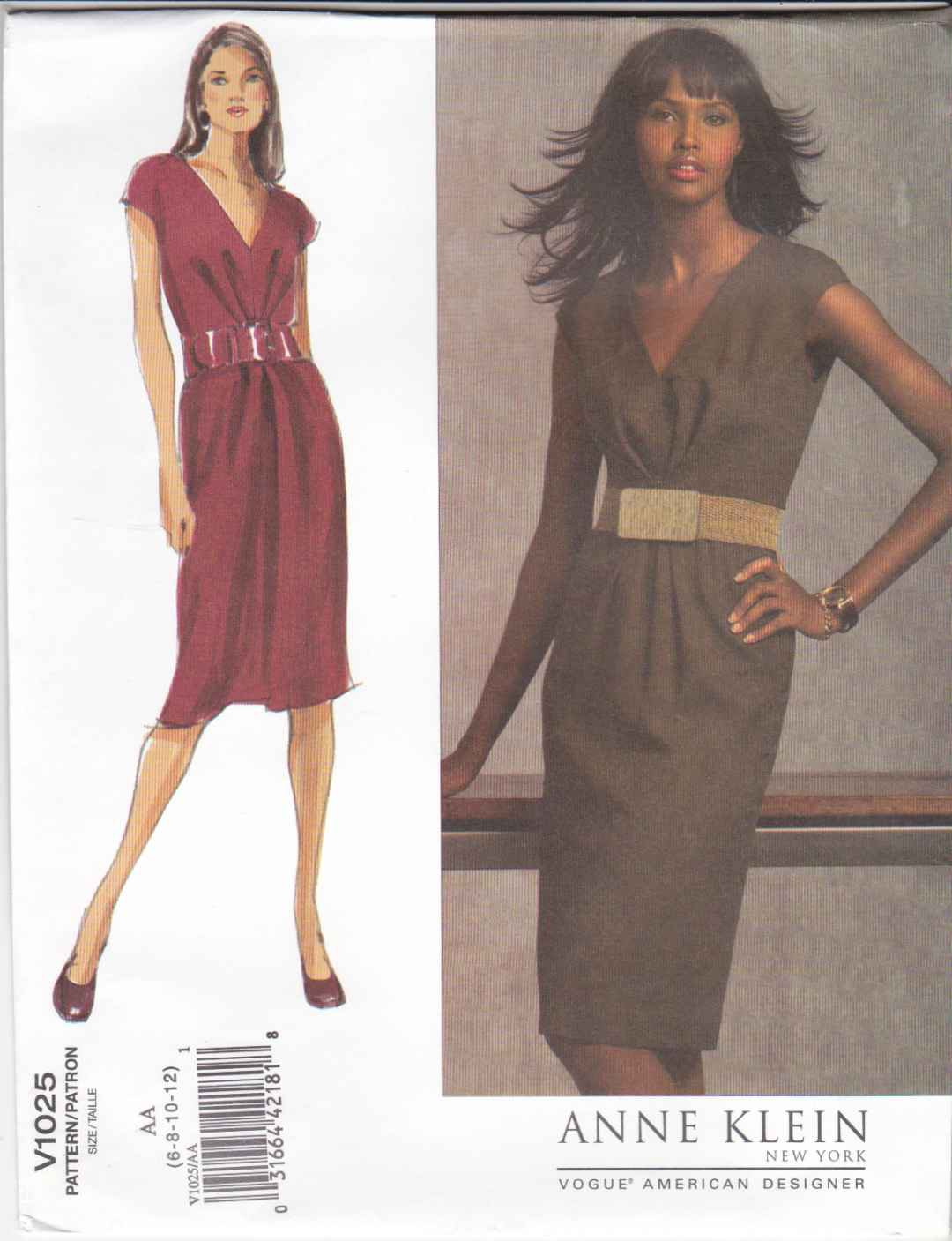 Vogue Sewing Pattern 1025 Misses Size 6-12 Easy Anne Klein Straight Sleeveless Dress