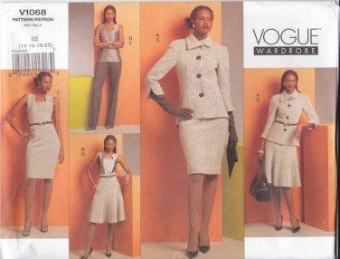 Vogue Sewing Pattern 1068 Misses Sizes 14-20 Wardrobe Jacket Sleeveless Dress Top Skirt Pants