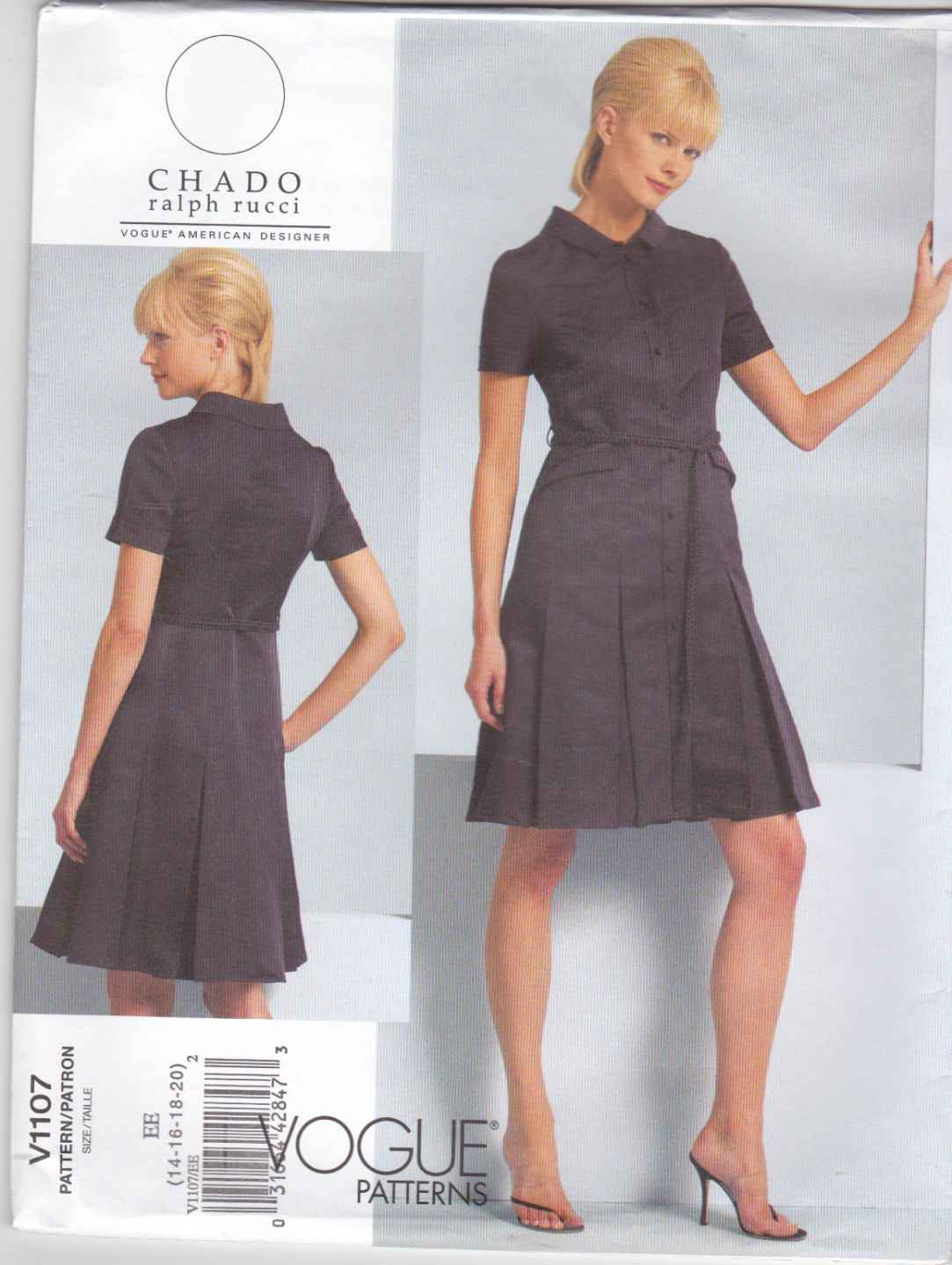 Vogue Sewing Pattern 1107 V1107 Misses Sizes 14-20 CHADO Ralph Rucci Dress Belt Seam Details