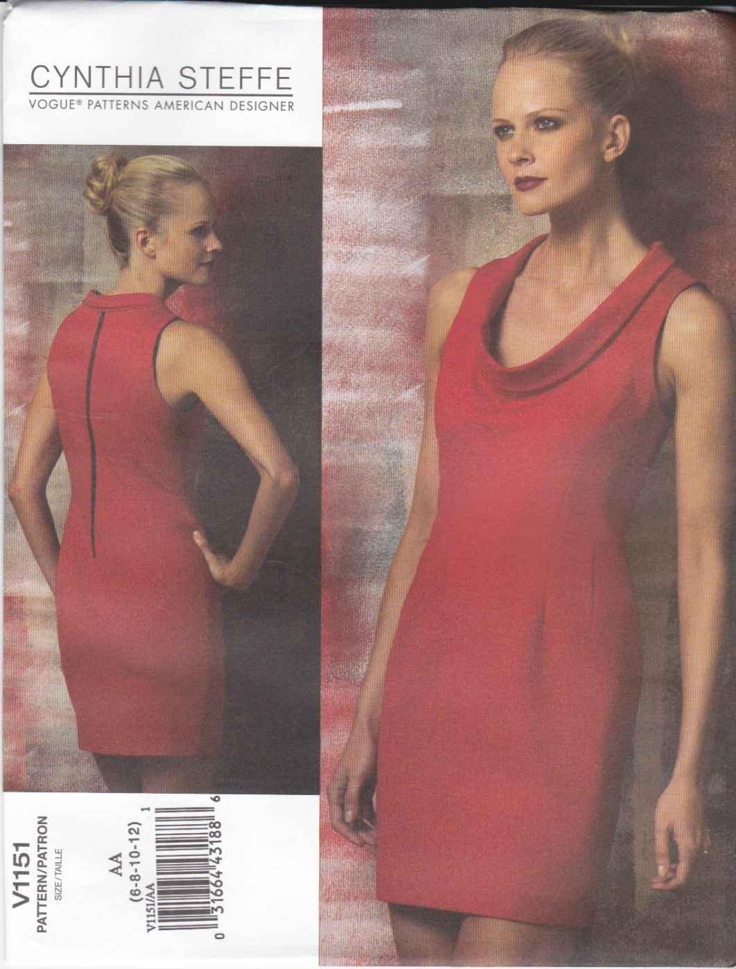 Vogue Sewing Pattern 1151 Misess Sizes 14-20 Cynthia Steffe Easy Straight Sleeveless Knit Dress
