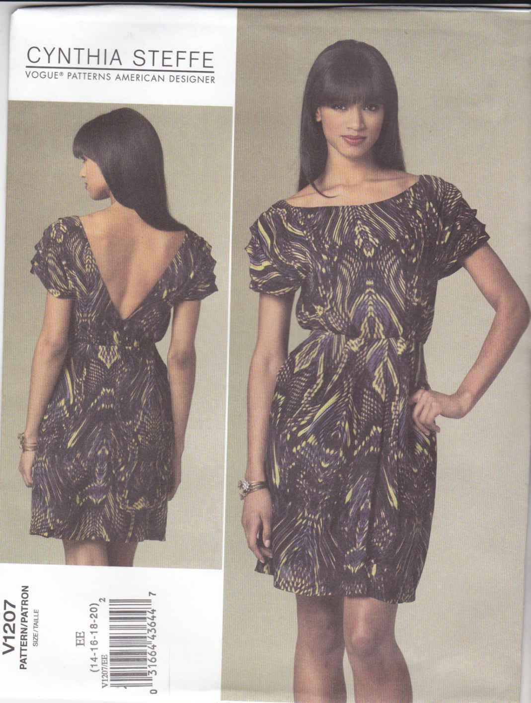 Vogue Sewing Pattern 1207 V1207 Misses Size 14-20 Cynthia Steffe Cap Sleeve A-Line Dress