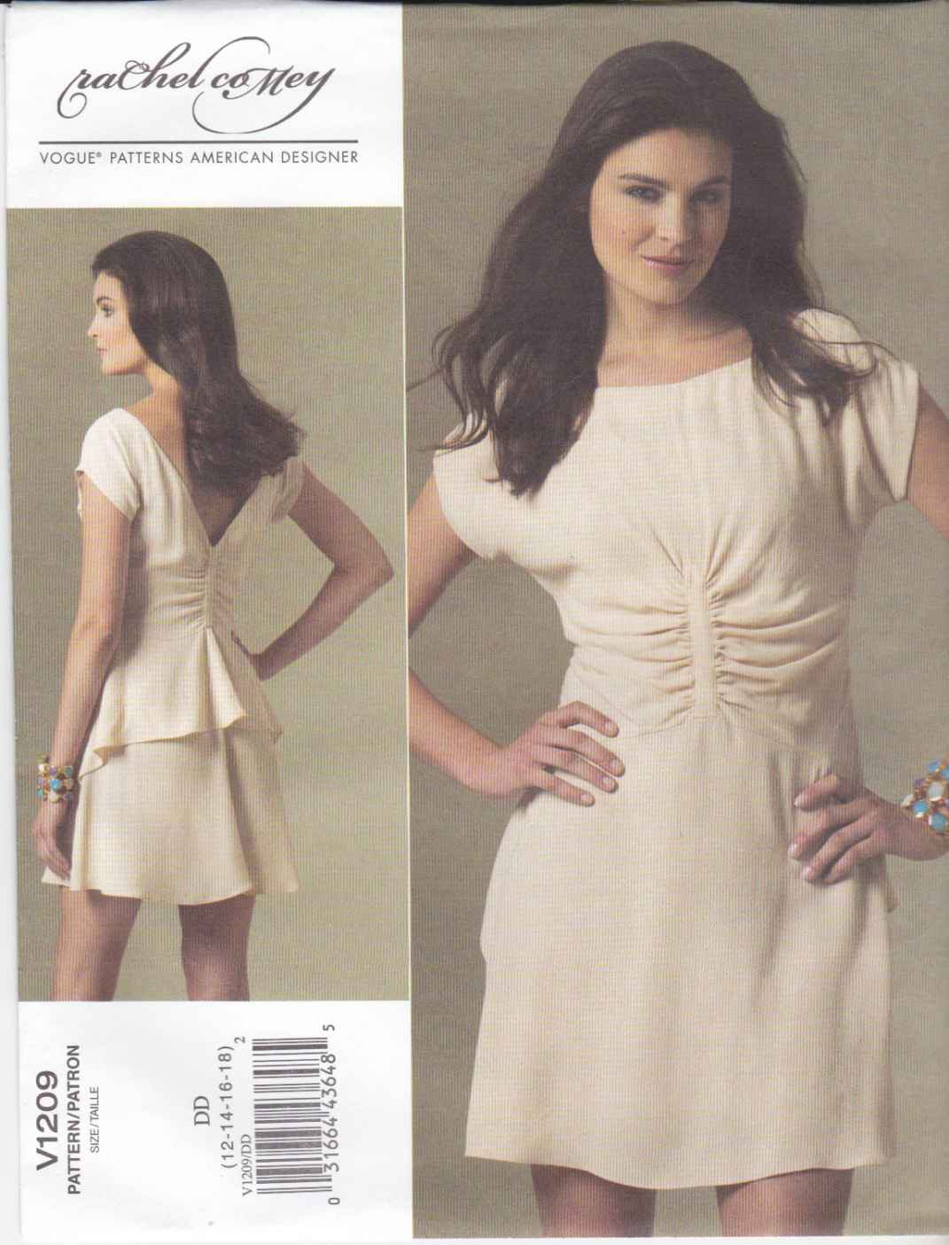 Vogue Sewing Pattern 1209 Misses Size 4-10 Rachel Comey Lined Dress Peplum