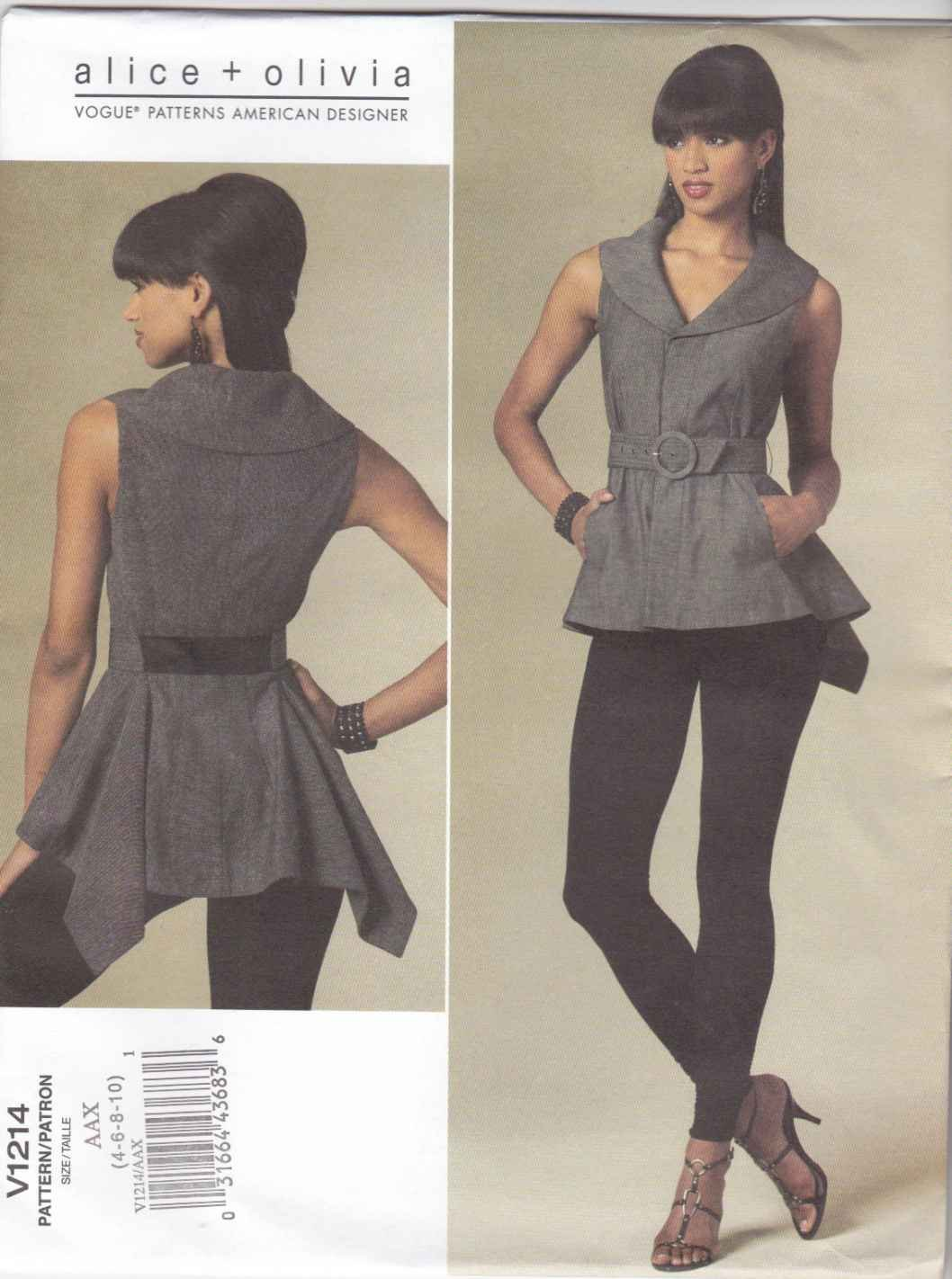 Vogue Sewing Pattern 1214 V1214 Misses Size 4-10 Alice & Olivia Sleeveless Top Belt Knit Leggings