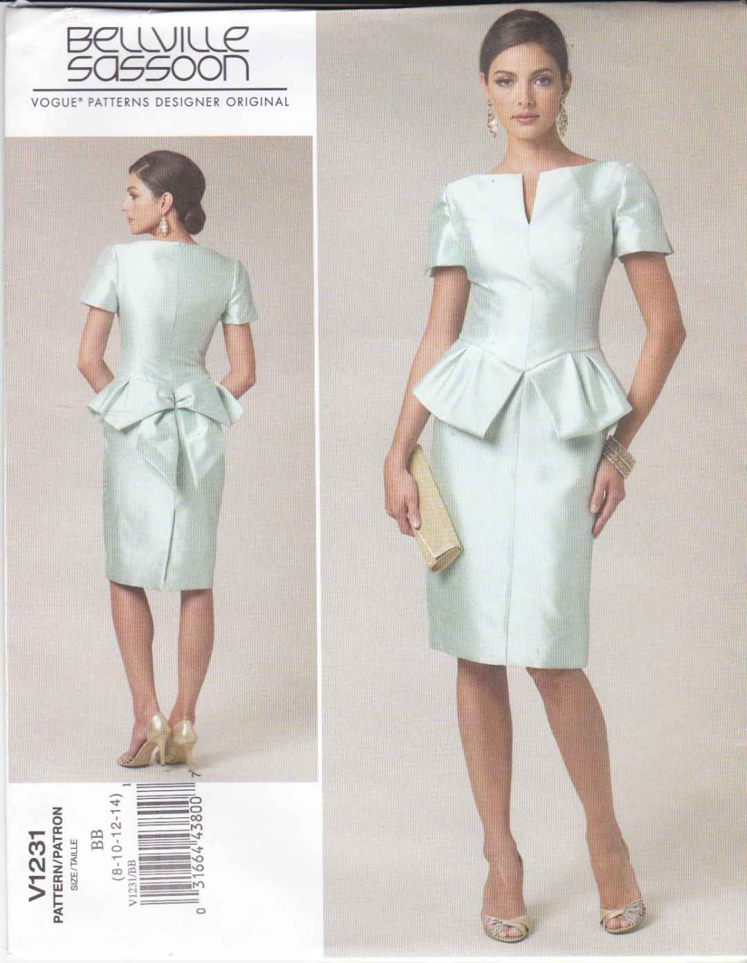 Vogue Sewing Pattern 1231 V1231 Misses Size 8-14 Bellville Sassoon Lined Straight Dress Peplum